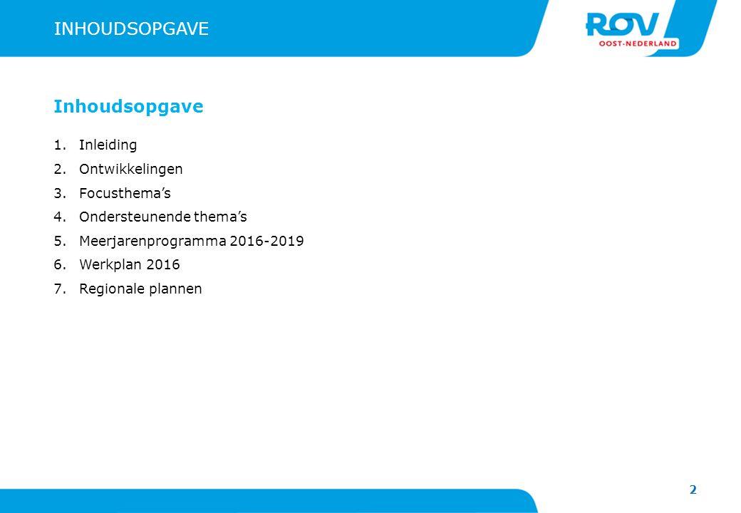 2 INHOUDSOPGAVE Inhoudsopgave 1.Inleiding 2.Ontwikkelingen 3.Focusthema's 4.Ondersteunende thema's 5.Meerjarenprogramma 2016-2019 6.Werkplan 2016 7.Regionale plannen