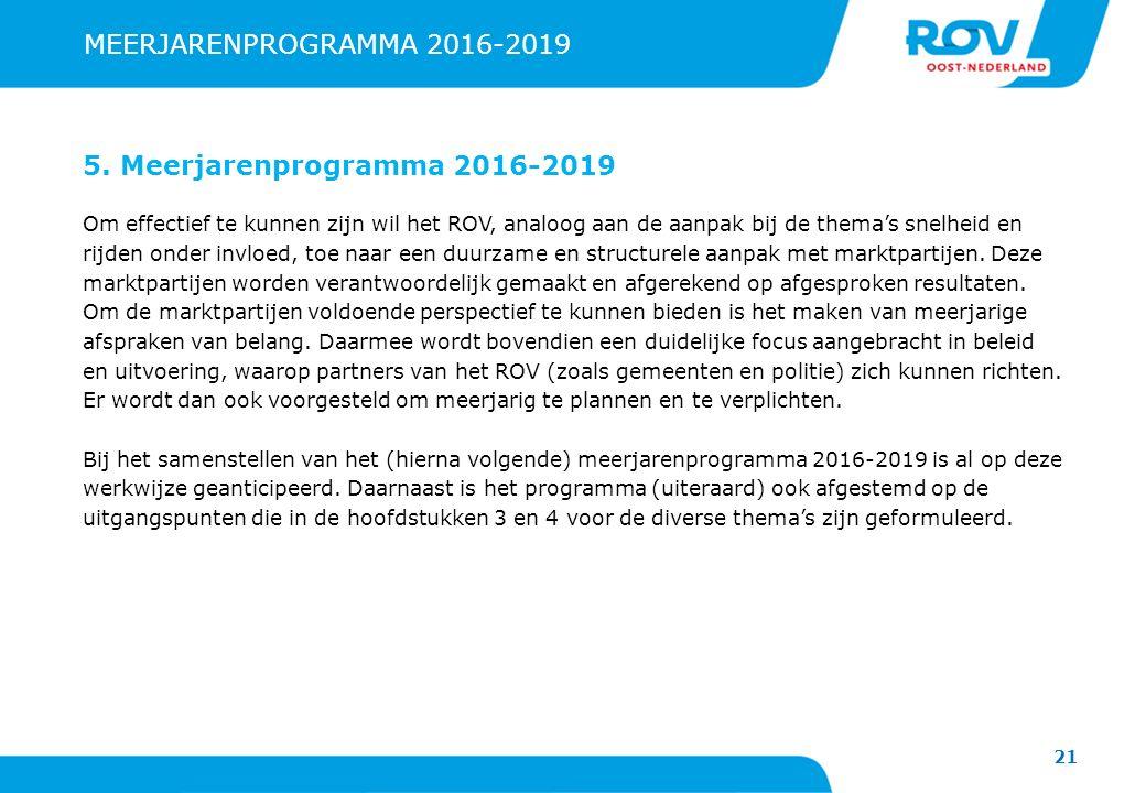 21 MEERJARENPROGRAMMA 2016-2019 5. Meerjarenprogramma 2016-2019 Om effectief te kunnen zijn wil het ROV, analoog aan de aanpak bij de thema's snelheid