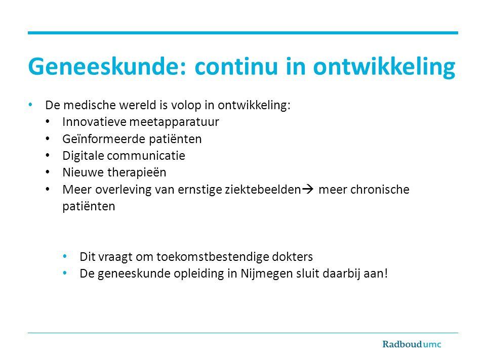 Geneeskunde: continu in ontwikkeling De medische wereld is volop in ontwikkeling: Innovatieve meetapparatuur Geïnformeerde patiënten Digitale communic