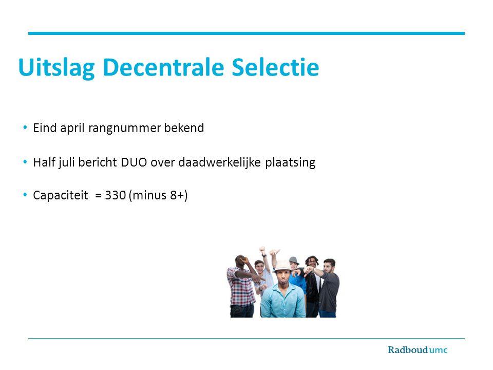 Uitslag Decentrale Selectie Eind april rangnummer bekend Half juli bericht DUO over daadwerkelijke plaatsing Capaciteit = 330 (minus 8+)