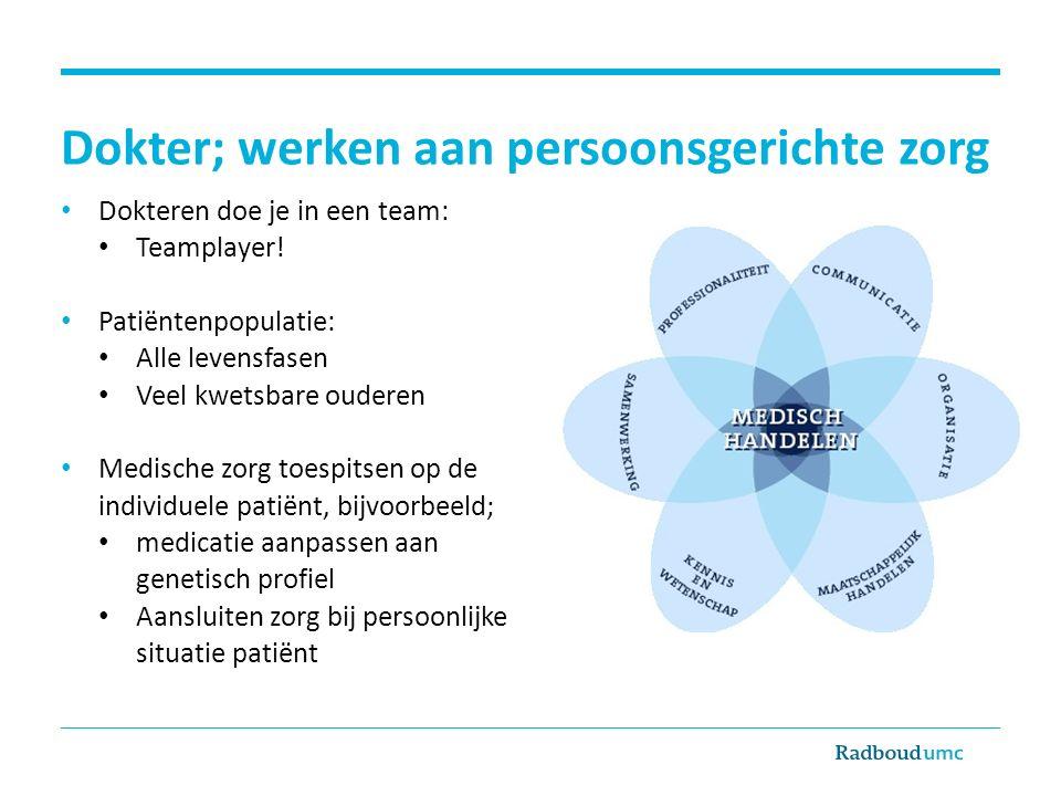 Dokter; werken aan persoonsgerichte zorg Dokteren doe je in een team: Teamplayer! Patiëntenpopulatie: Alle levensfasen Veel kwetsbare ouderen Medische