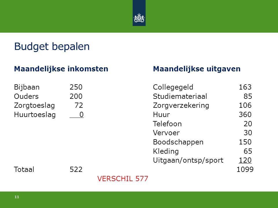Budget bepalen Maandelijkse inkomstenMaandelijkse uitgaven Bijbaan250Collegegeld 163 Ouders200Studiemateriaal 85 Zorgtoeslag 72Zorgverzekering 106 Huu
