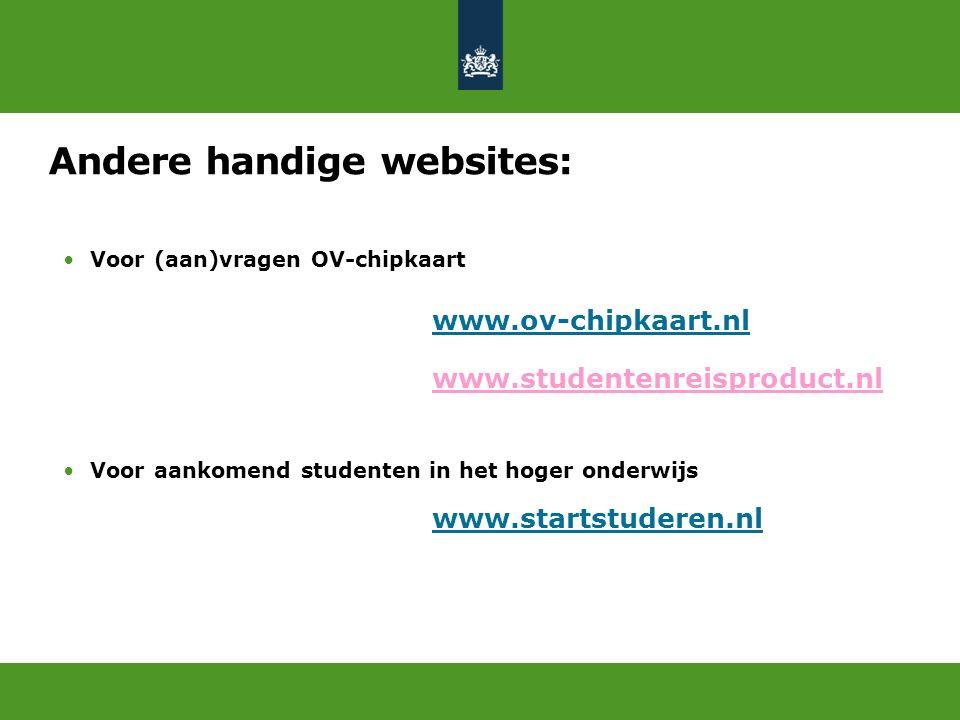 Andere handige websites: Voor (aan)vragen OV-chipkaart www.ov-chipkaart.nl www.studentenreisproduct.nl Voor aankomend studenten in het hoger onderwijs