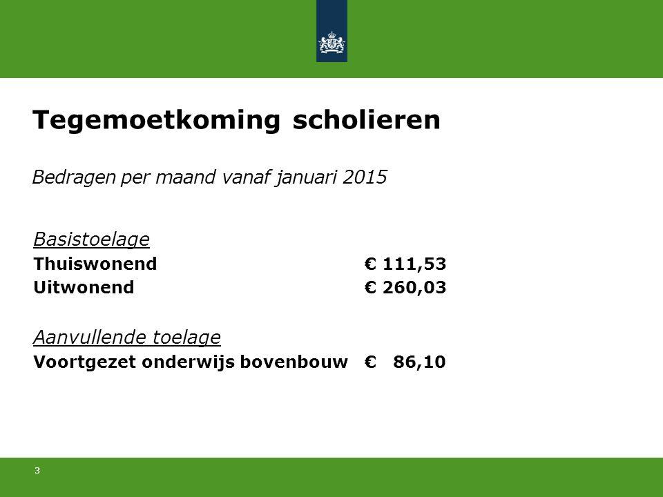 3 Bedragen per maand vanaf januari 2015 Basistoelage Thuiswonend€ 111,53 Uitwonend€ 260,03 Aanvullende toelage Voortgezet onderwijs bovenbouw€ 86,10 T