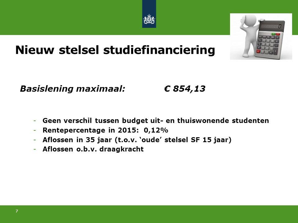 7 Basislening maximaal:€ 854,13 -Geen verschil tussen budget uit- en thuiswonende studenten -Rentepercentage in 2015: 0,12% -Aflossen in 35 jaar (t.o.