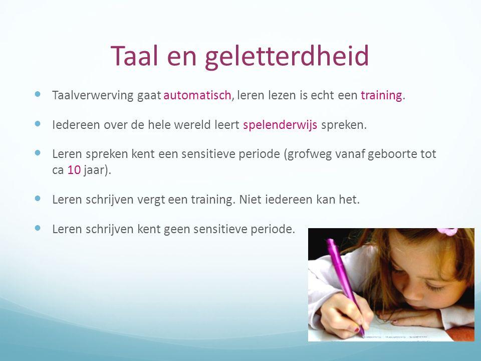 Taal en geletterdheid Taalverwerving gaat automatisch, leren lezen is echt een training. Iedereen over de hele wereld leert spelenderwijs spreken. Ler