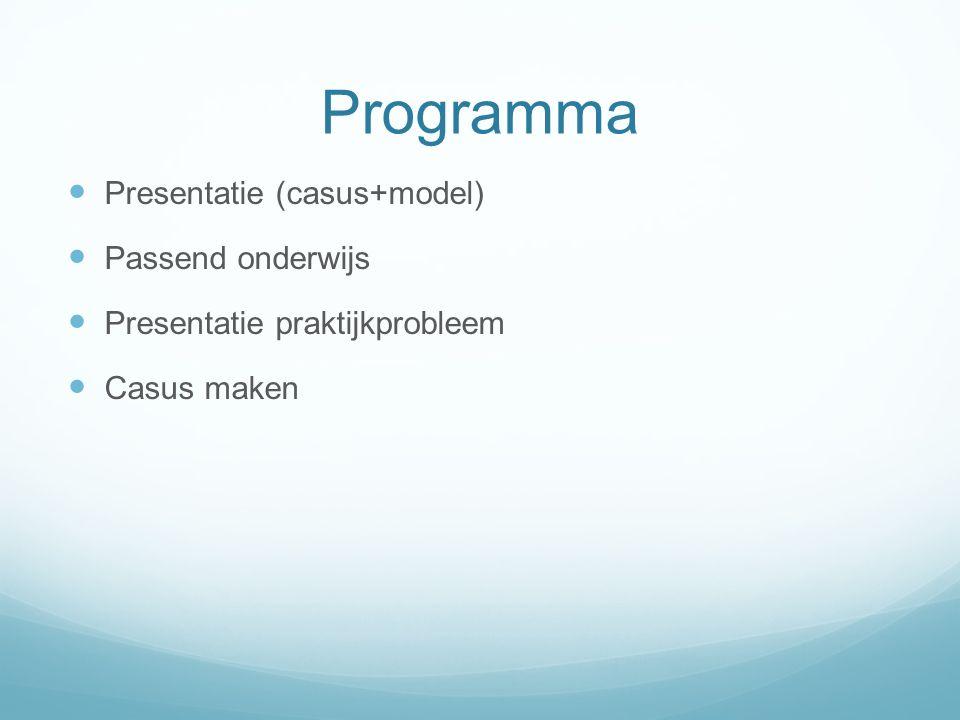Programma Presentatie (casus+model) Passend onderwijs Presentatie praktijkprobleem Casus maken