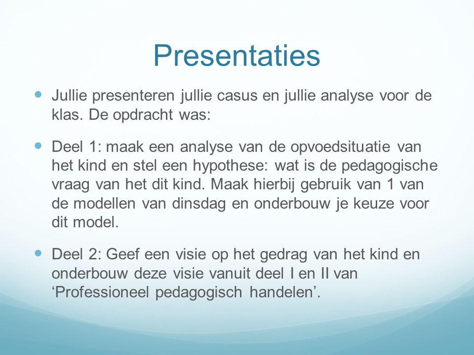 Presentaties Jullie presenteren jullie casus en jullie analyse voor de klas. De opdracht was: Deel 1: maak een analyse van de opvoedsituatie van het k