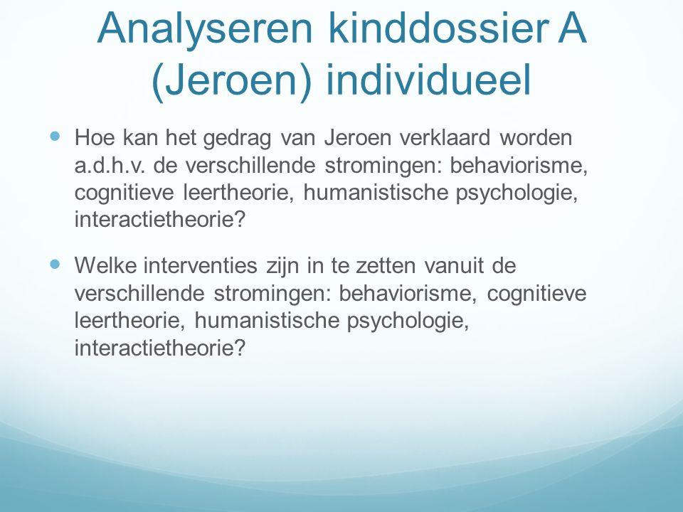 Analyseren kinddossier A (Jeroen) individueel Hoe kan het gedrag van Jeroen verklaard worden a.d.h.v. de verschillende stromingen: behaviorisme, cogni