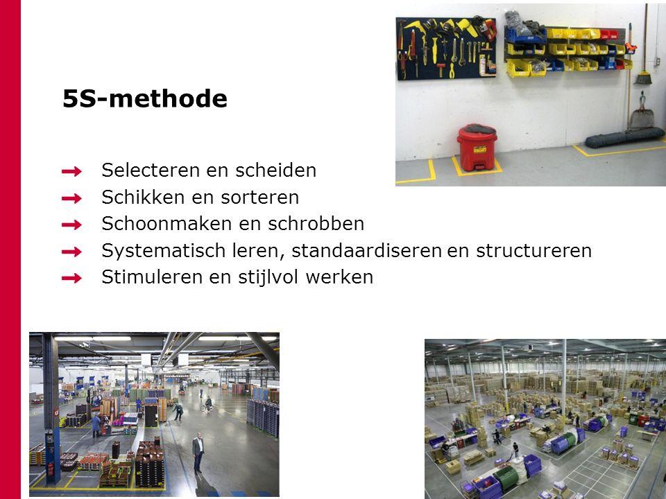 5S-methode Selecteren en scheiden Schikken en sorteren Schoonmaken en schrobben Systematisch leren, standaardiseren en structureren Stimuleren en stij