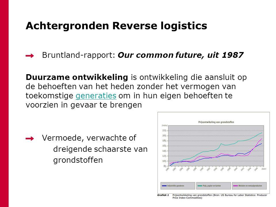 Achtergronden Reverse logistics Bruntland-rapport: Our common future, uit 1987 Duurzame ontwikkeling is ontwikkeling die aansluit op de behoeften van