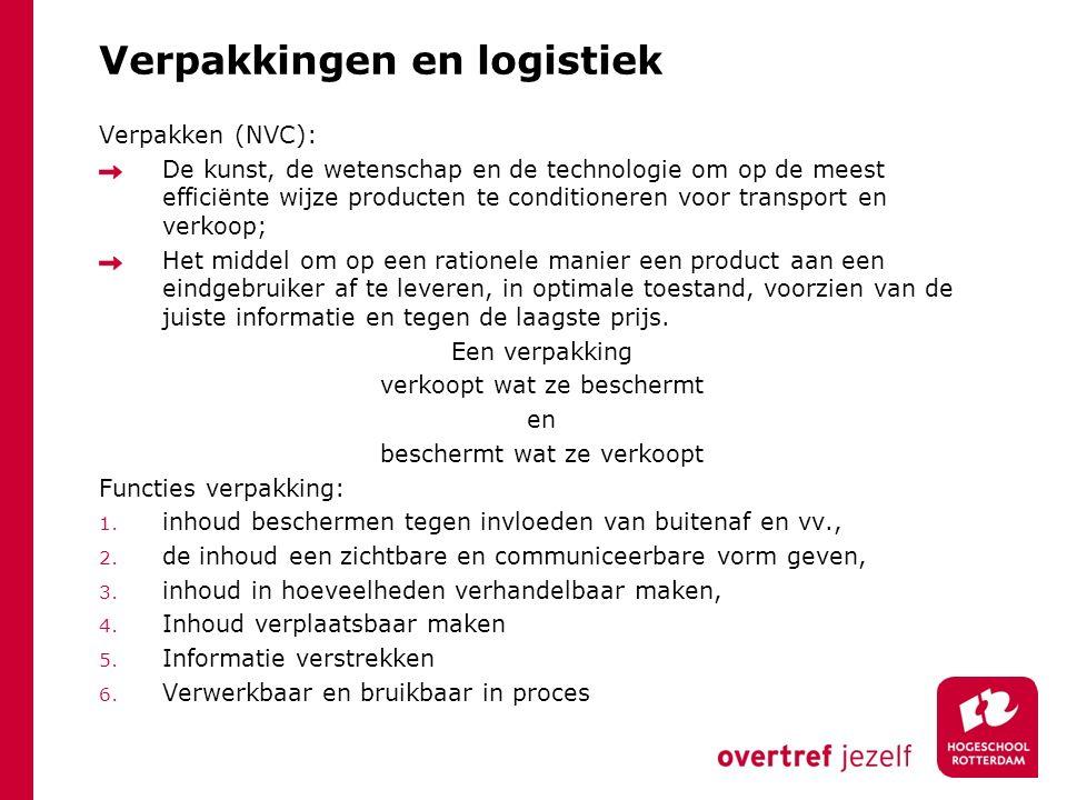 Verpakkingen en logistiek Verpakken (NVC): De kunst, de wetenschap en de technologie om op de meest efficiënte wijze producten te conditioneren voor t