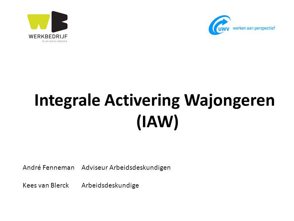 Integrale activering Wajongeren Ik heb arbeidsvermogen Ik werk niet Ik ben (nog) niet (meer) in beeld bij UWV WB De verbindende factor € 95 miljoen
