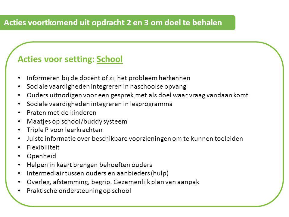 Informatie Acties voortkomend uit opdracht 2 en 3 om doel te behalen Gemeente Acties voor setting: School Informeren bij de docent of zij het probleem