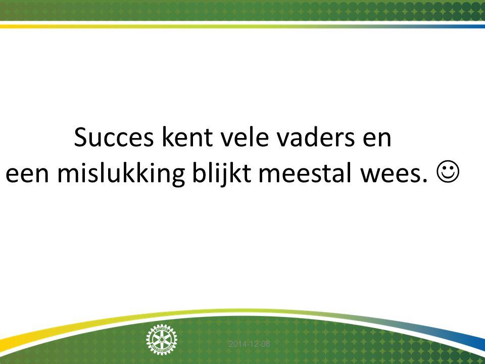 2014-12-08 Succes kent vele vaders en een mislukking blijkt meestal wees.