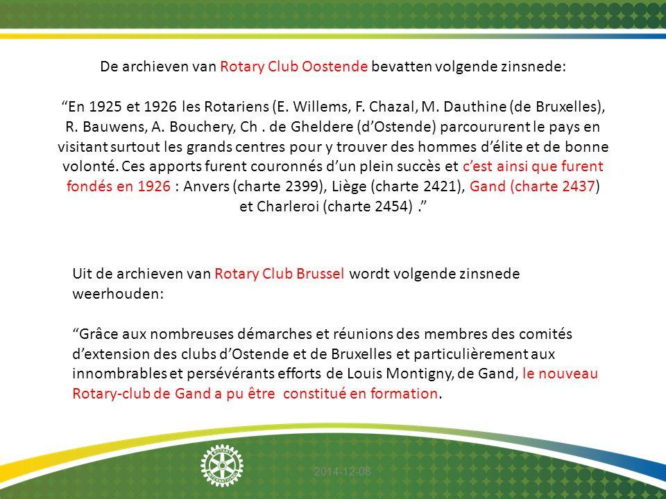 "2014-12-08 De archieven van Rotary Club Oostende bevatten volgende zinsnede: ""En 1925 et 1926 les Rotariens (E. Willems, F. Chazal, M. Dauthine (de Br"