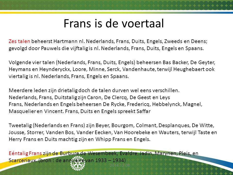 2014-12-08 Frans is de voertaal Zes talen beheerst Hartmann nl. Nederlands, Frans, Duits, Engels, Zweeds en Deens; gevolgd door Pauwels die vijftalig