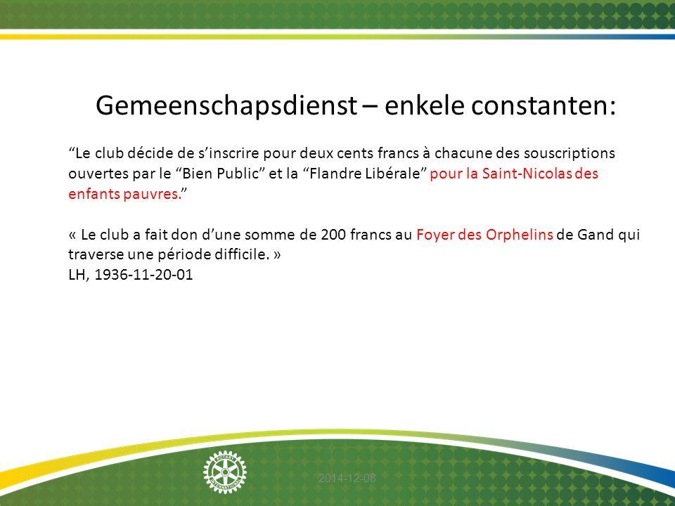 """2014-12-08 Gemeenschapsdienst – enkele constanten: """"Le club décide de s'inscrire pour deux cents francs à chacune des souscriptions ouvertes par le """"B"""
