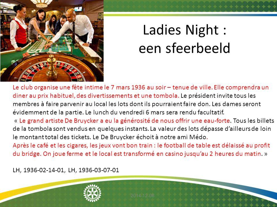 2014-12-08 Ladies Night : een sfeerbeeld Le club organise une fête intime le 7 mars 1936 au soir – tenue de ville. Elle comprendra un diner au prix ha