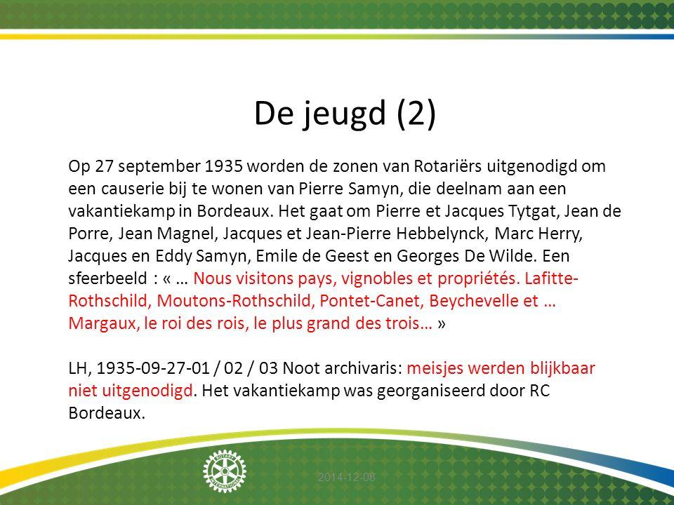 2014-12-08 De jeugd (2) Op 27 september 1935 worden de zonen van Rotariërs uitgenodigd om een causerie bij te wonen van Pierre Samyn, die deelnam aan