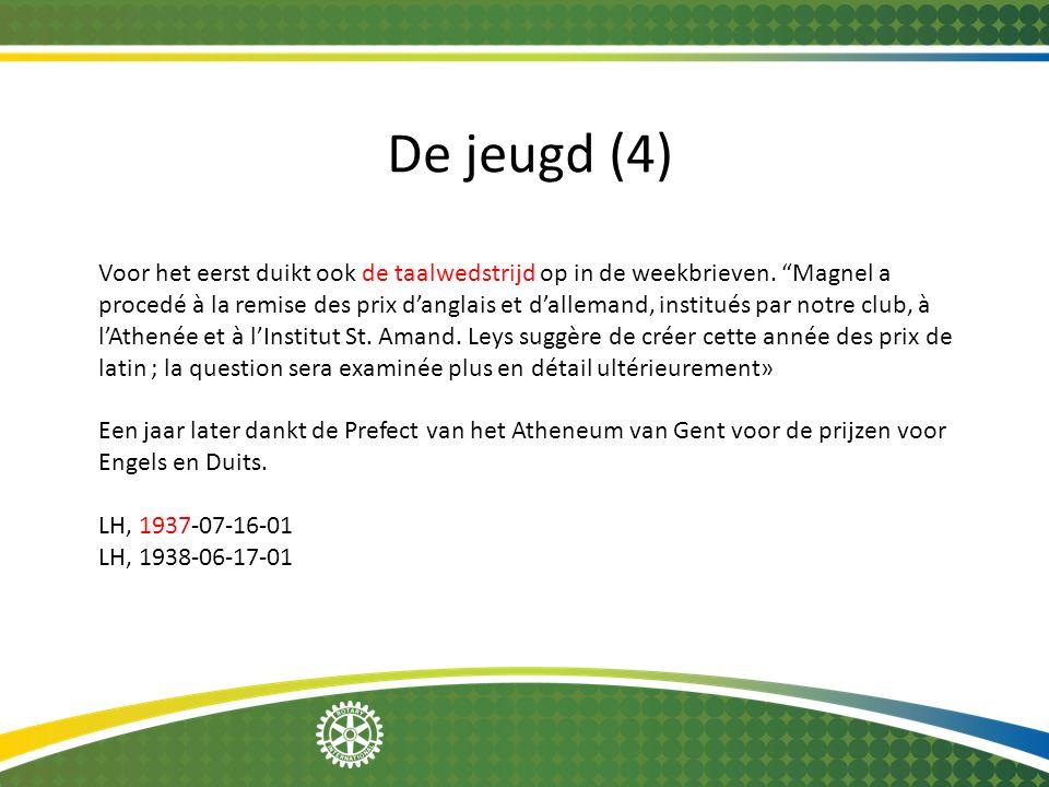 """De jeugd (4) Voor het eerst duikt ook de taalwedstrijd op in de weekbrieven. """"Magnel a procedé à la remise des prix d'anglais et d'allemand, institués"""