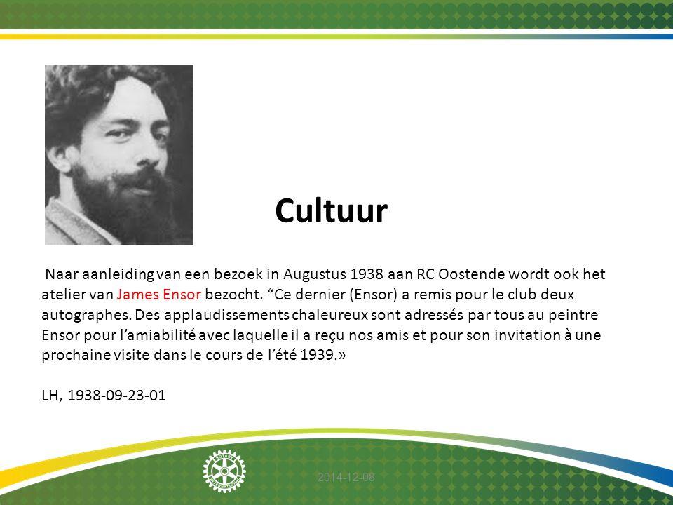 """2014-12-08 Cultuur Naar aanleiding van een bezoek in Augustus 1938 aan RC Oostende wordt ook het atelier van James Ensor bezocht. """"Ce dernier (Ensor)"""