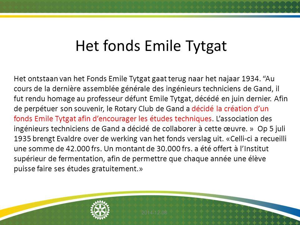 """2014-12-08 Het fonds Emile Tytgat Het ontstaan van het Fonds Emile Tytgat gaat terug naar het najaar 1934. """"Au cours de la dernière assemblée générale"""