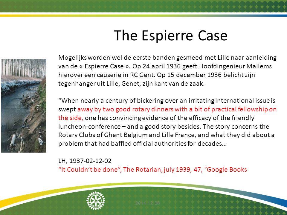 2014-12-08 The Espierre Case Mogelijks worden wel de eerste banden gesmeed met Lille naar aanleiding van de « Espierre Case ». Op 24 april 1936 geeft