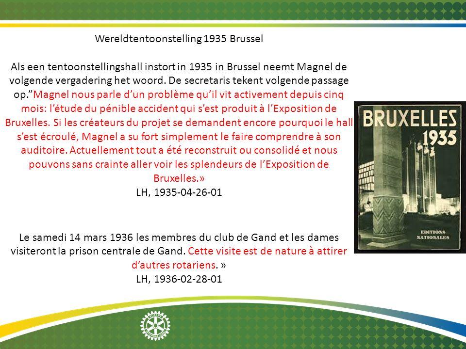 Wereldtentoonstelling 1935 Brussel Als een tentoonstellingshall instort in 1935 in Brussel neemt Magnel de volgende vergadering het woord. De secretar