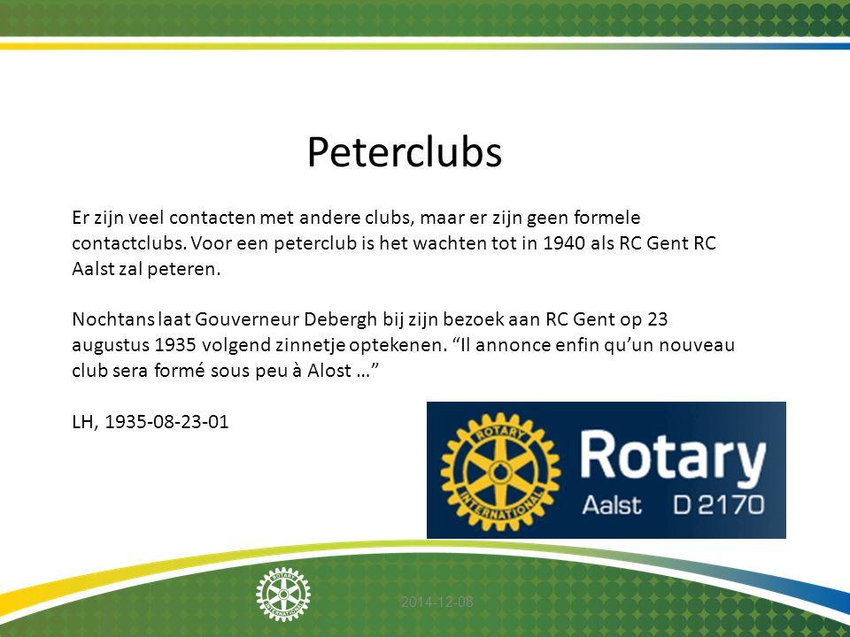 2014-12-08 Peterclubs Er zijn veel contacten met andere clubs, maar er zijn geen formele contactclubs. Voor een peterclub is het wachten tot in 1940 a