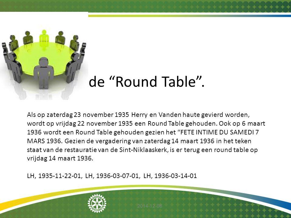 """2014-12-08 de """"Round Table"""". Als op zaterdag 23 november 1935 Herry en Vanden haute gevierd worden, wordt op vrijdag 22 november 1935 een Round Table"""