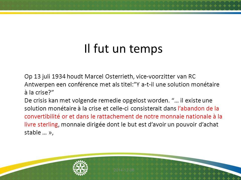 """2014-12-08 Il fut un temps Op 13 juli 1934 houdt Marcel Osterrieth, vice-voorzitter van RC Antwerpen een conférence met als titel:""""Y a-t-il une soluti"""