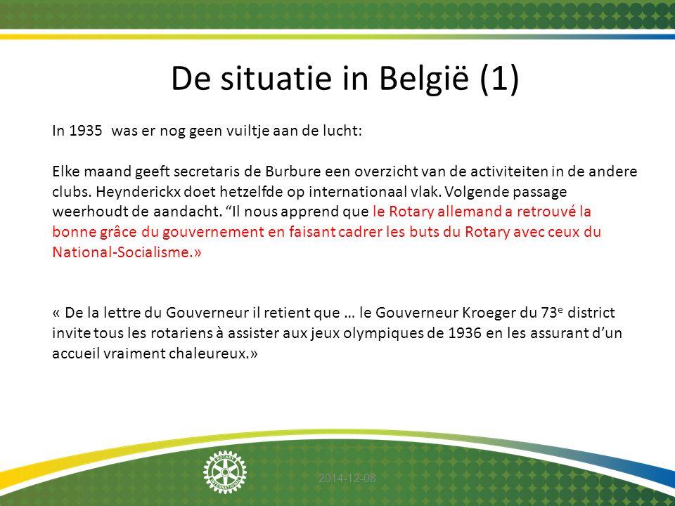 2014-12-08 De situatie in België (1) In 1935 was er nog geen vuiltje aan de lucht: Elke maand geeft secretaris de Burbure een overzicht van de activit