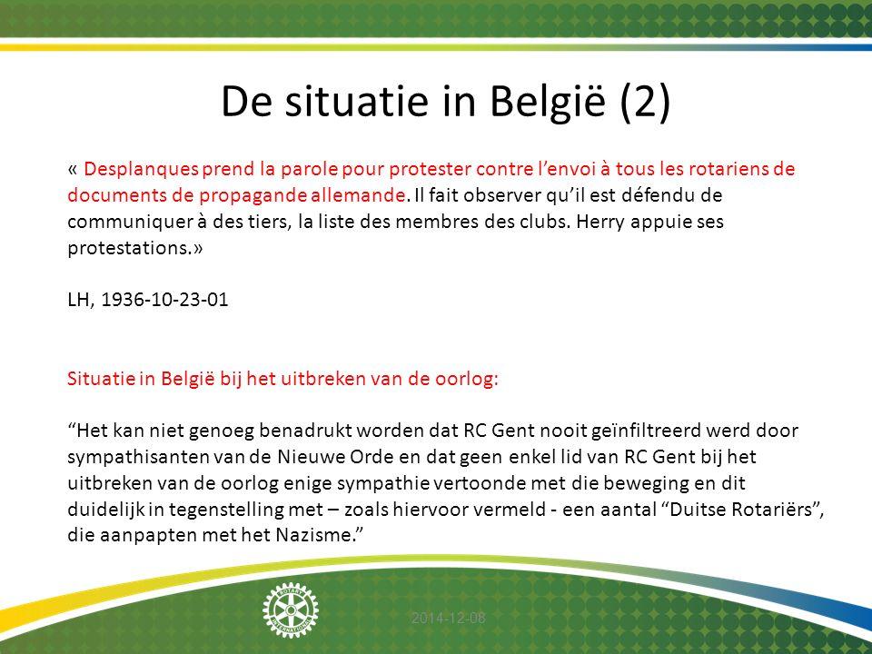 2014-12-08 De situatie in België (2) « Desplanques prend la parole pour protester contre l'envoi à tous les rotariens de documents de propagande allem