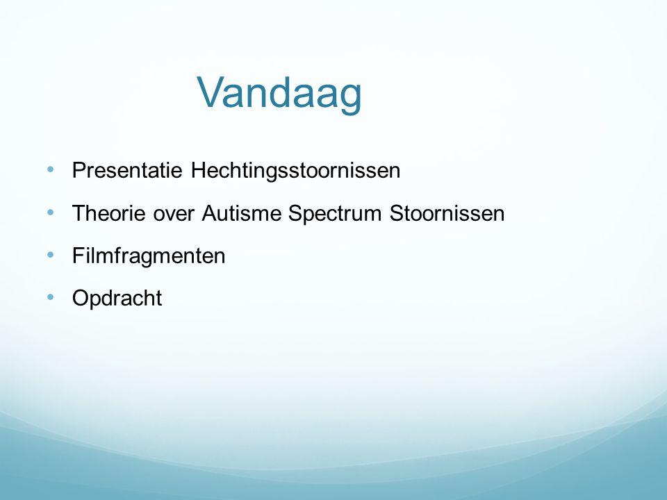 Vandaag Presentatie Hechtingsstoornissen Theorie over Autisme Spectrum Stoornissen Filmfragmenten Opdracht