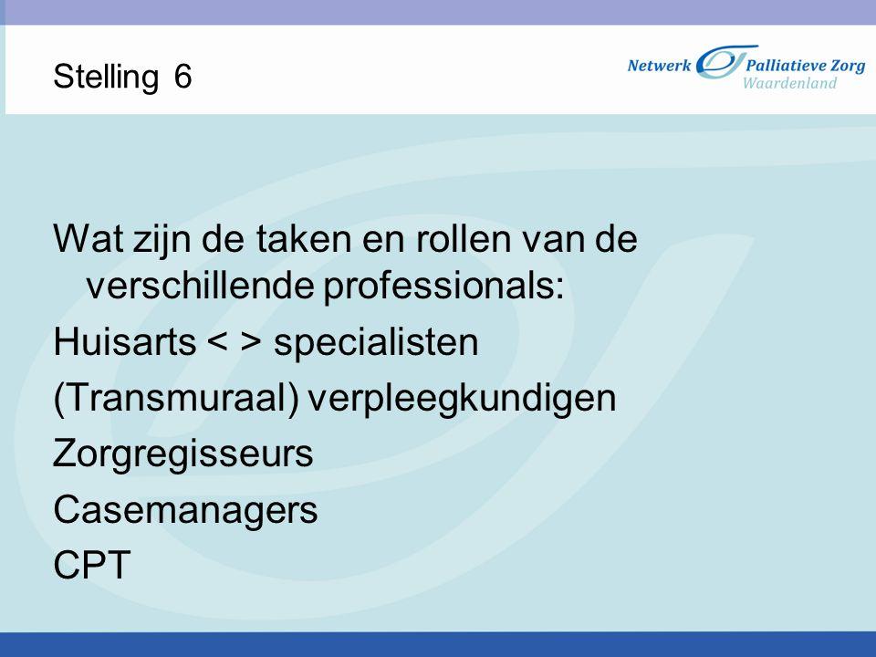Stelling 6 Wat zijn de taken en rollen van de verschillende professionals: Huisarts specialisten (Transmuraal) verpleegkundigen Zorgregisseurs Caseman
