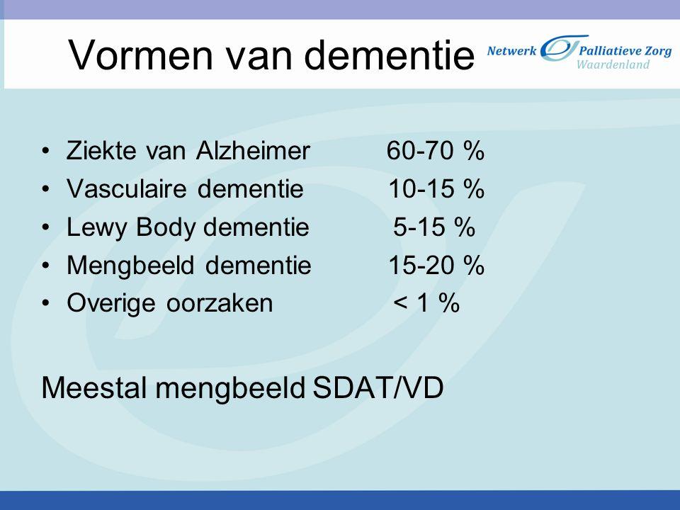 Ziekte van Alzheimer 60-70 % Vasculaire dementie 10-15 % Lewy Body dementie 5-15 % Mengbeeld dementie 15-20 % Overige oorzaken < 1 % Meestal mengbeeld