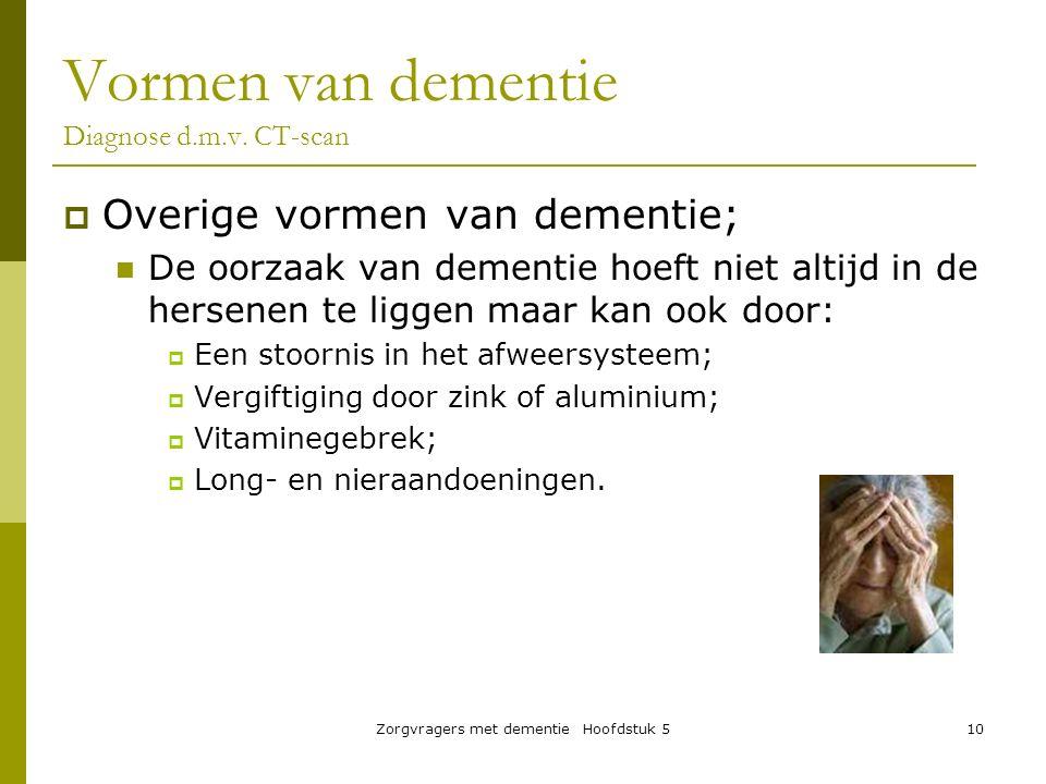 Zorgvragers met dementie Hoofdstuk 510  Overige vormen van dementie; De oorzaak van dementie hoeft niet altijd in de hersenen te liggen maar kan ook