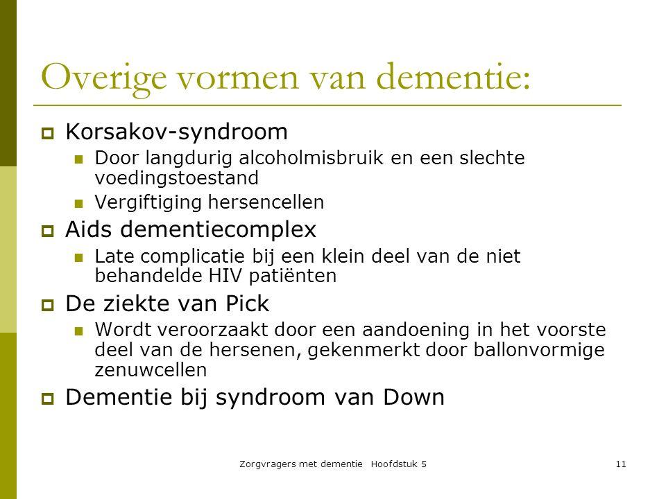 Zorgvragers met dementie Hoofdstuk 511 Overige vormen van dementie:  Korsakov-syndroom Door langdurig alcoholmisbruik en een slechte voedingstoestand