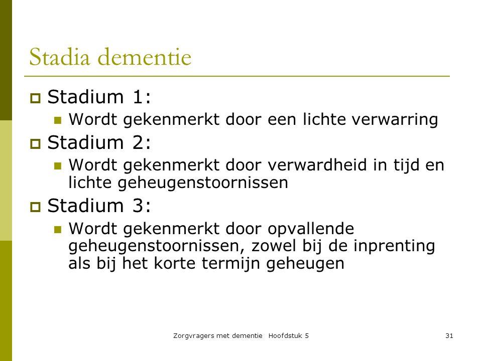 Zorgvragers met dementie Hoofdstuk 531 Stadia dementie  Stadium 1: Wordt gekenmerkt door een lichte verwarring  Stadium 2: Wordt gekenmerkt door ver