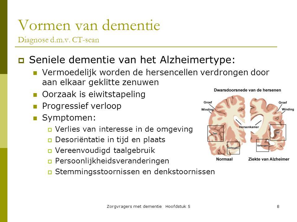 Zorgvragers met dementie Hoofdstuk 58 Vormen van dementie Diagnose d.m.v. CT-scan  Seniele dementie van het Alzheimertype: Vermoedelijk worden de her