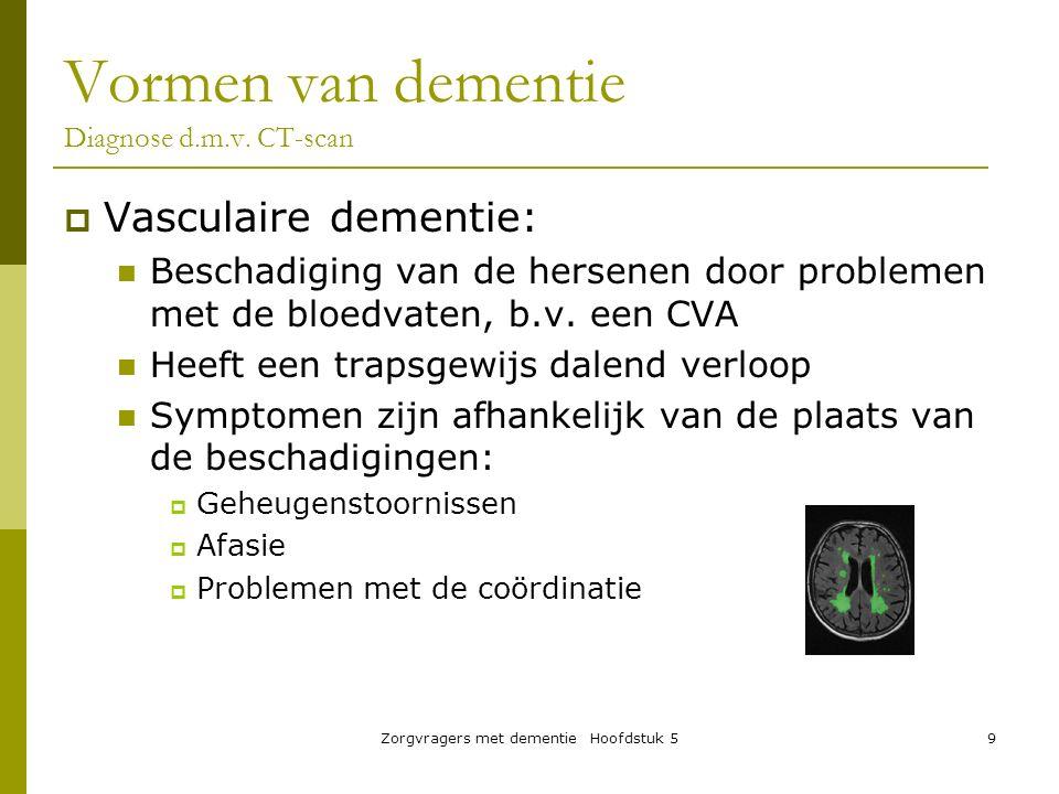 Zorgvragers met dementie Hoofdstuk 59  Vasculaire dementie: Beschadiging van de hersenen door problemen met de bloedvaten, b.v. een CVA Heeft een tra