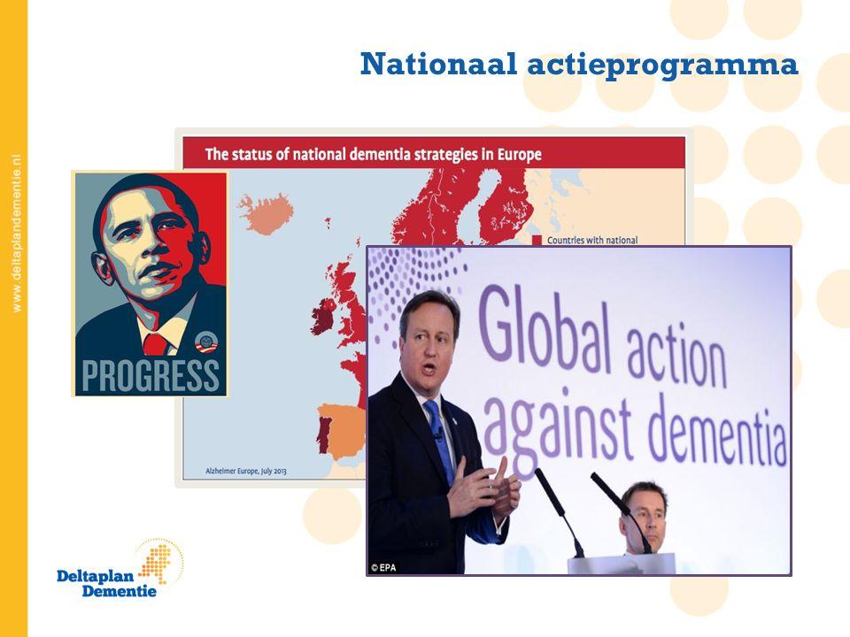 Hét nationale actieprogramma tegen dementie 2013 - 2020 Zowel voor patiënt van vandaag als die van morgen Netwerkorganisatie Coöperatie met leden Drie pijlers: onderzoek innovatie van de zorgpraktijk sociale innovatie Wat is het Deltaplan Dementie?
