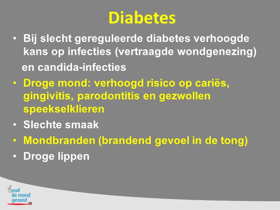 Diabetes Bij slecht gereguleerde diabetes verhoogde kans op infecties (vertraagde wondgenezing) en candida-infecties Droge mond: verhoogd risico op ca