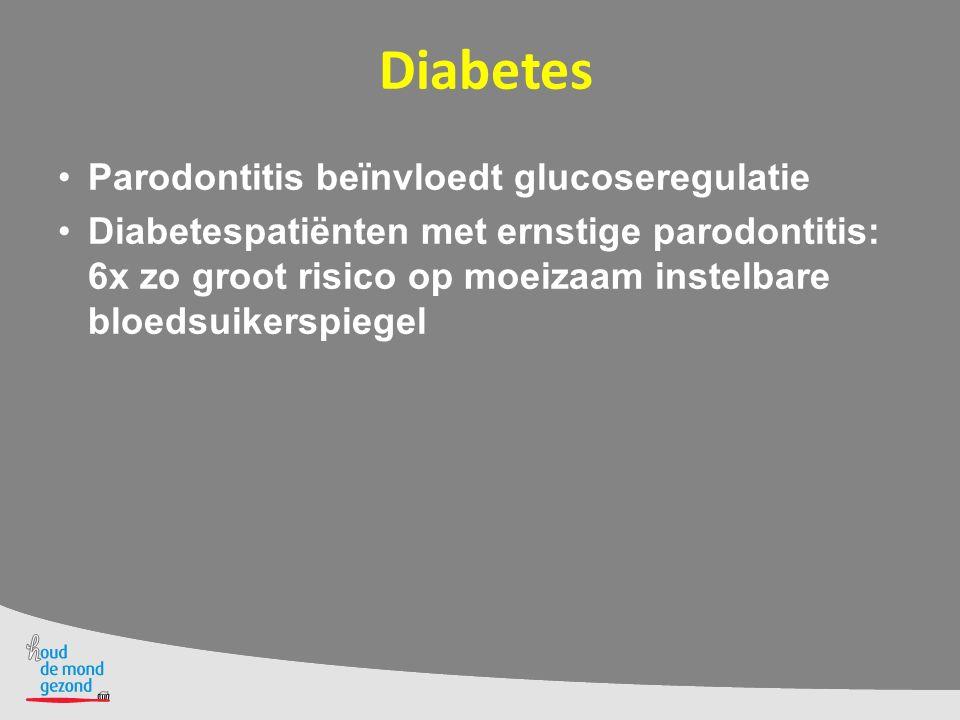 Diabetes Parodontitis beïnvloedt glucoseregulatie Diabetespatiënten met ernstige parodontitis: 6x zo groot risico op moeizaam instelbare bloedsuikersp