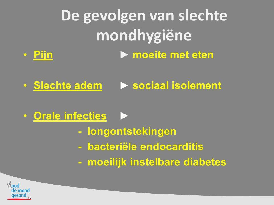 De gevolgen van slechte mondhygiëne Pijn ► moeite met eten Slechte adem ► sociaal isolement Orale infecties ► - longontstekingen - bacteriële endocard