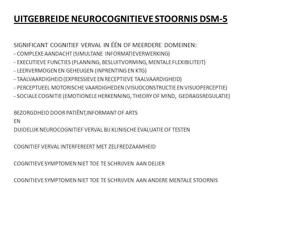 UITGEBREIDE NEUROCOGNITIEVE STOORNIS DSM-5 SIGNIFICANT COGNITIEF VERVAL IN ÉÉN OF MEERDERE DOMEINEN: - COMPLEXE AANDACHT (SIMULTANE INFORMATIEVERWERKI