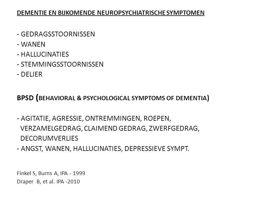 DEMENTIE EN BIJKOMENDE NEUROPSYCHIATRISCHE SYMPTOMEN - GEDRAGSSTOORNISSEN - WANEN - HALLUCINATIES - STEMMINGSSTOORNISSEN - DELIER BPSD ( BEHAVIORAL &