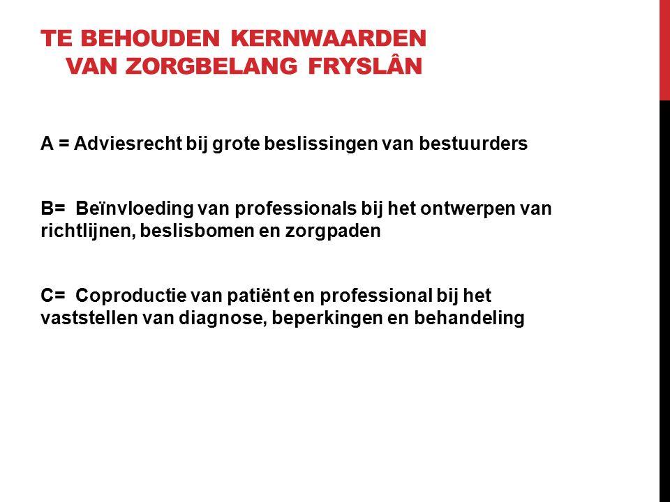 TE BEHOUDEN KERNWAARDEN VAN ZORGBELANG FRYSLÂN A = Adviesrecht bij grote beslissingen van bestuurders B= Beïnvloeding van professionals bij het ontwerpen van richtlijnen, beslisbomen en zorgpaden C= Coproductie van patiënt en professional bij het vaststellen van diagnose, beperkingen en behandeling