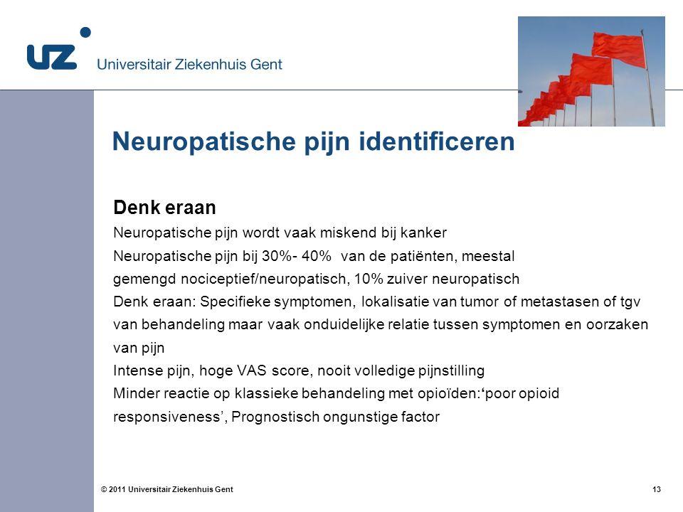 13© 2011 Universitair Ziekenhuis Gent Neuropatische pijn identificeren Denk eraan Neuropatische pijn wordt vaak miskend bij kanker Neuropatische pijn